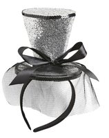 Mini top Hat sequin silver wi-0068H