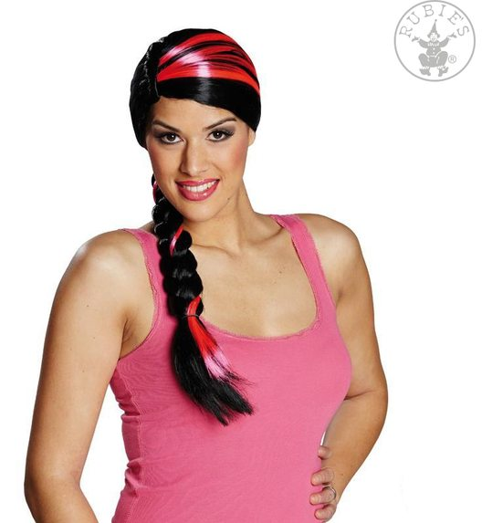 Miriam wig with black braid and pink locks