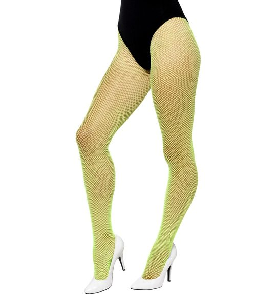 Neon green fishnet stockings