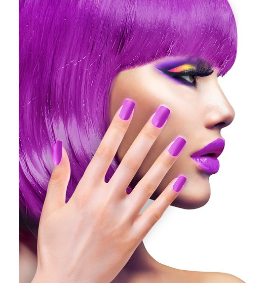 Neon purple fake nails WI-05349 @ Las Fiestas