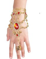 Oriental bracelet with ring and Red stone PWA2292