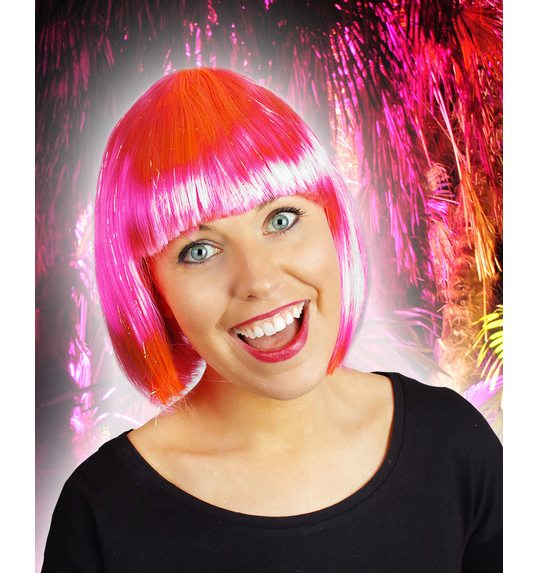 Pink bob wig with glitter