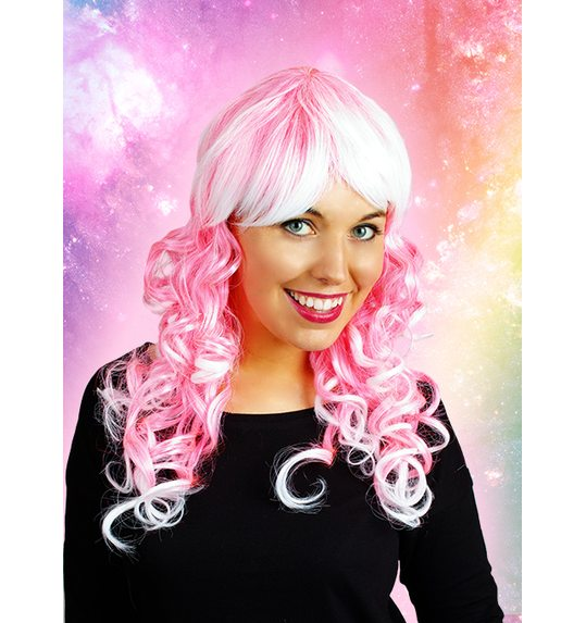 Pink curled wig