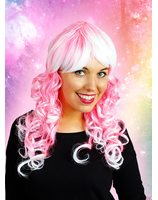 Pink wig with white curls PWP0106