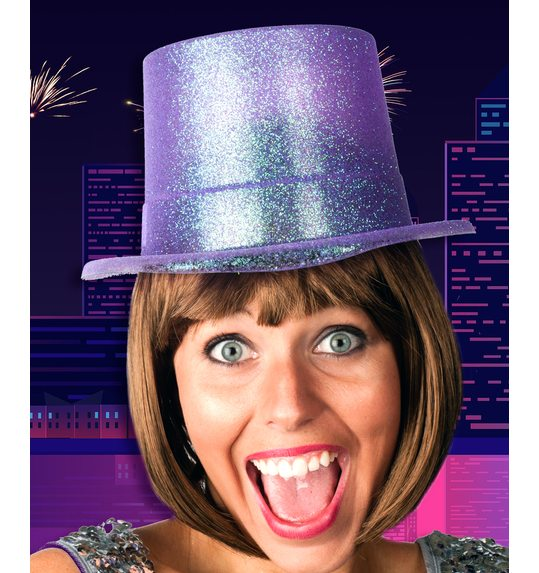Purple top hat glitter