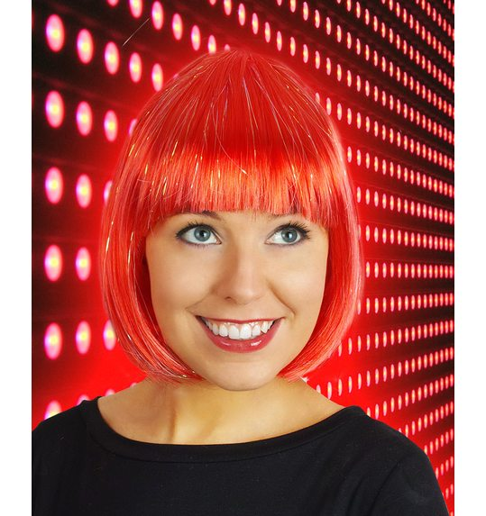 Red bob wig with glitter