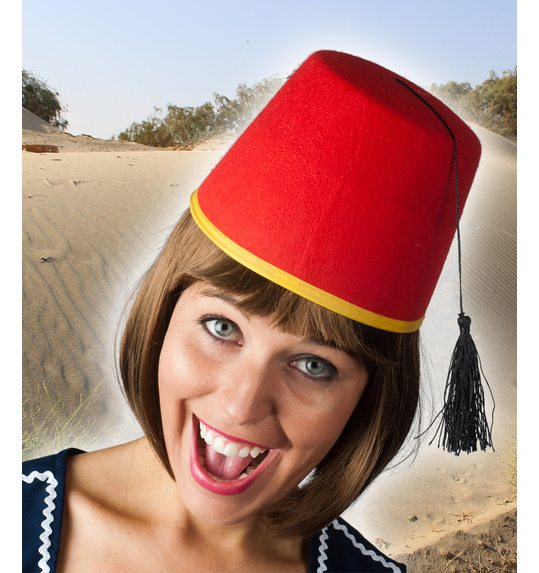 Red marrocan fez hat