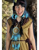 Set dreamcatcher with necklace and earrings blue PWA0906BL
