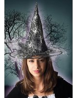 Silver witch hat with spider web print PWA2391ZI