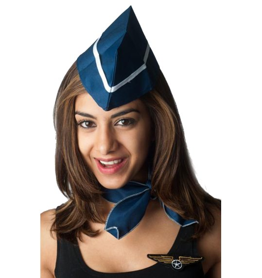 Stewardess set with hat, scarf and pin