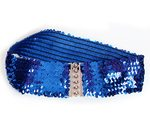 Stretch belt with glitter blue