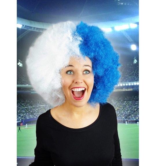 Supporter wig blue white