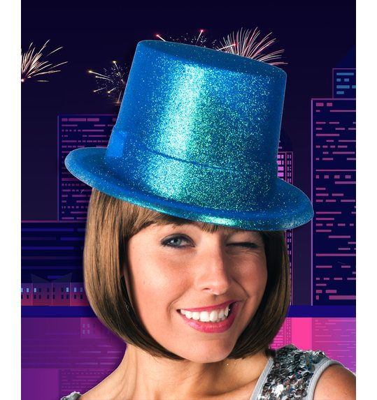 Turquoise top hat glitter