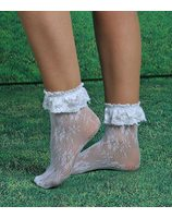 White short lace sock PWA1041