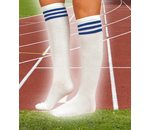 White stocking with 3 blue stripes