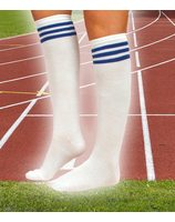 White stocking with 3 blue stripes PWB0380BL