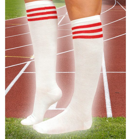 White stocking with 3 red stripes