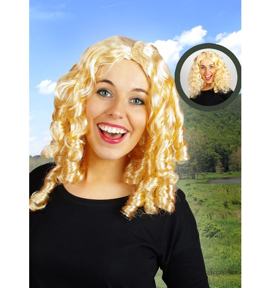 Wig with curls blonde