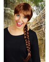 Wig with long braid brown PWP0107BR