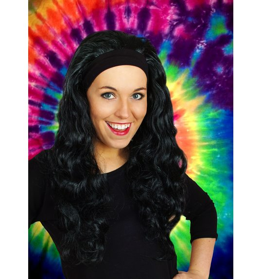 Wig with long hair and hair band Jenna Black