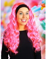 Wig with long hair and hair band Jenna Hot Pink PWP0069FLROZ