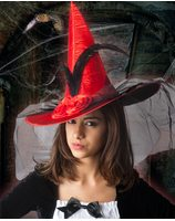 Witch hat deluxe with veil red PWA2515RO