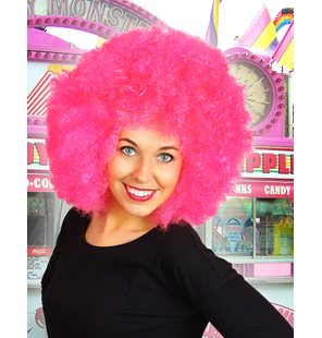Afro wig bright pink