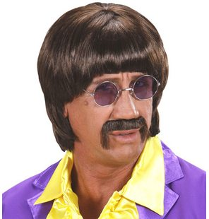 Brown 60s wig with mustache