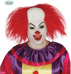Clown wig with red hair and bald head