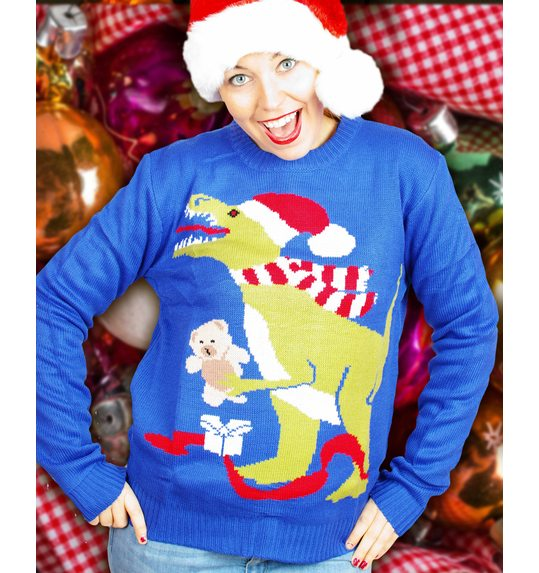 christmas sweater with dinosaur for both men and women - Dinosaur Christmas Sweater