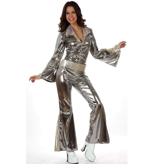 Disco jumpsuit silver for women