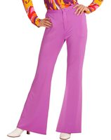 Disco pants with wide legs for ladies in purple WI-09125/09126