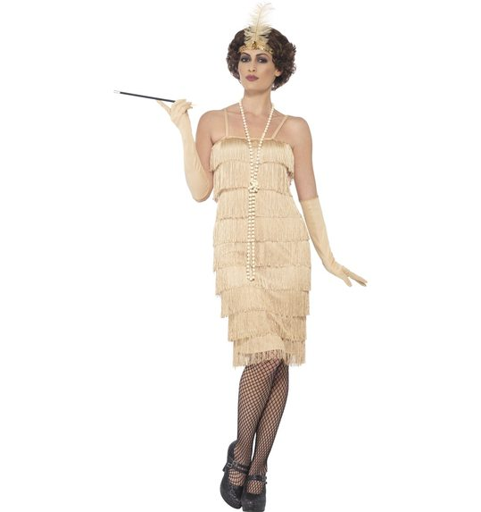Flapper charleston 50 \' long gold dress
