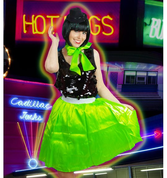Fluorescent green retro skirt and scarf