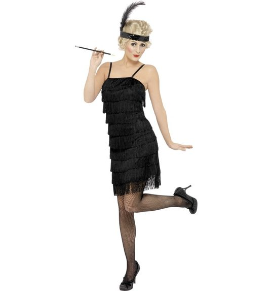 Fringe Flapper Costume, Black, Dress and headband