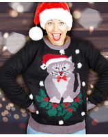 Funny Christmas sweater with cat and pompons for women PWB0384