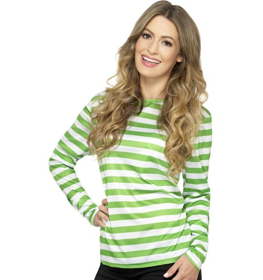 Green with white striped t-shirt