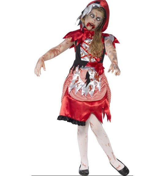 Halloween zombie red riding hood costume for girls