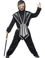 Kids ninja costume black-silver SM-21127