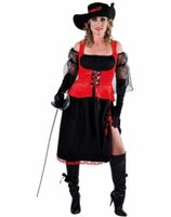 Ladies pirat musketeer costume black with red waistcoat MA-215108