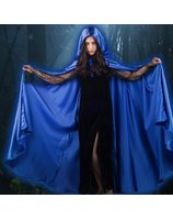 Long Cape Blue satin PWA0043