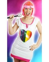 Pop star dress up costume with glitter heart for adults PWG0063