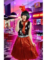 Red retro skirt with black polka dots and scarf LASK0007-ROZW