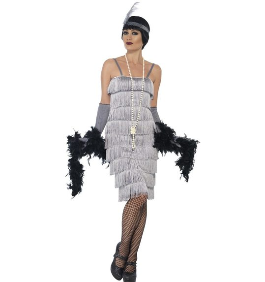 Silver charleston dress with fringes  sc 1 st  Las Fiestas & Silver charleston dress with fringes SM-44672 @ Las Fiestas