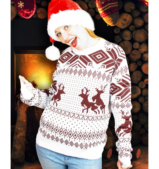 Ugly christmas sweater naughty reindeers brown white unisex