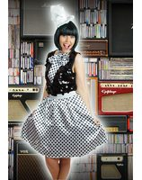 White retro skirt with black polka dots and scarf LASK0007-WIZW