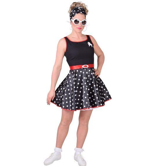 rockabilly dress black with white dots