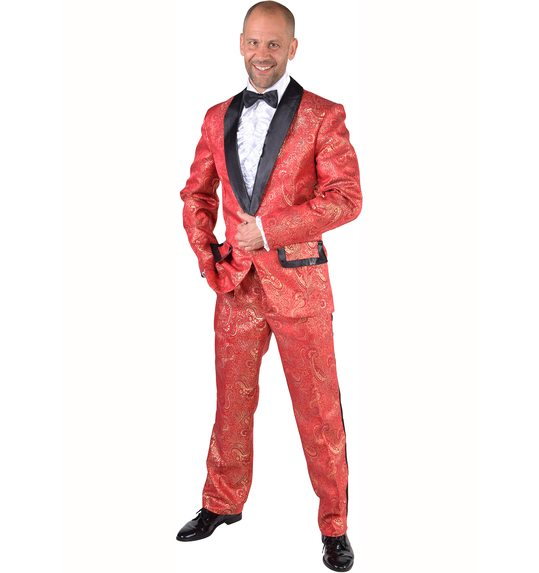 suit costume brocate red
