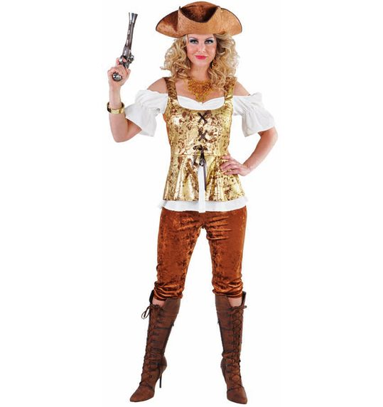 Costume pirate femme avec pantalon brun/or