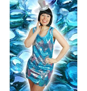 Disco dress turquoise glitter-silver